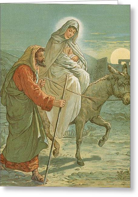 Bible Greeting Cards - The Flight into Egypt Greeting Card by John Lawson