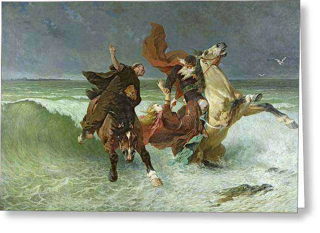 Horseman Greeting Cards - The Flight of Gradlon Mawr Greeting Card by Evariste Vital Luminais