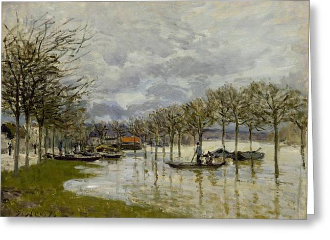 The Flood On The Road To Saint Germain Greeting Card by Alfred Sisley