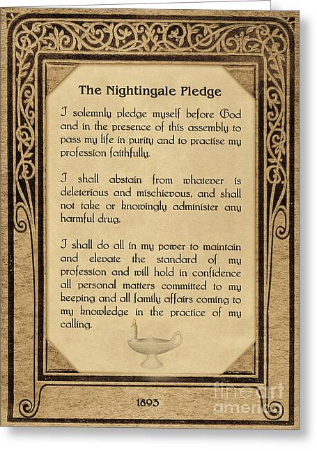The Florence Nightingale Pledge 1893 Greeting Card by Olga Hamilton