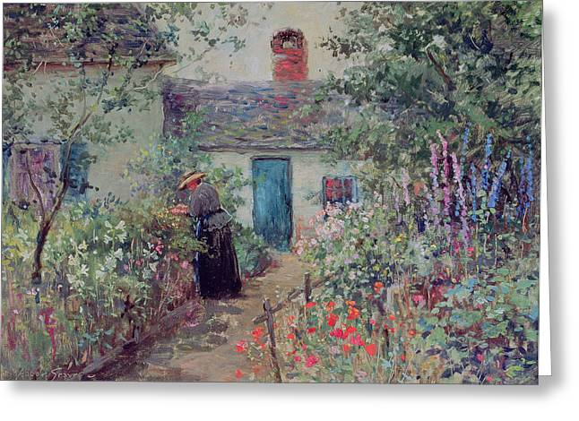 Figure In Oil Greeting Cards - The Flower Garden Greeting Card by Abbott Fuller Graves