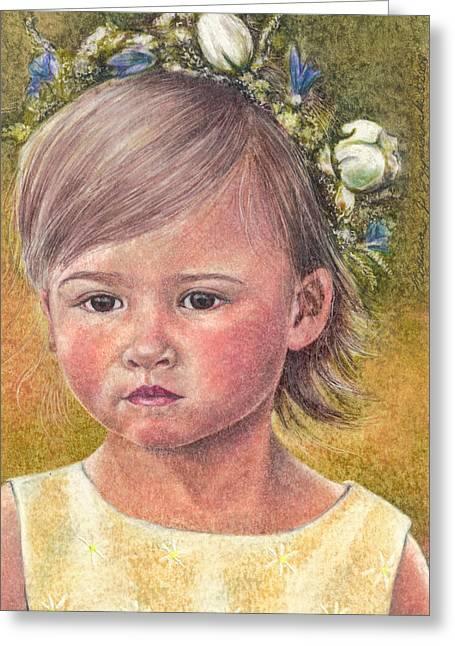 The Flower Girl Greeting Card by Melissa J Szymanski