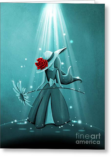 The Flower Girl - Remixed Greeting Card by Cindy Thornton
