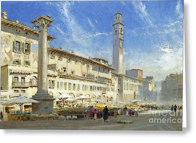 The Flower Market In The Piazza Delle Erbe Greeting Card by MotionAge Designs