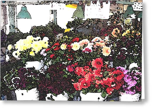 The Flower Market Greeting Card by James Johnstone