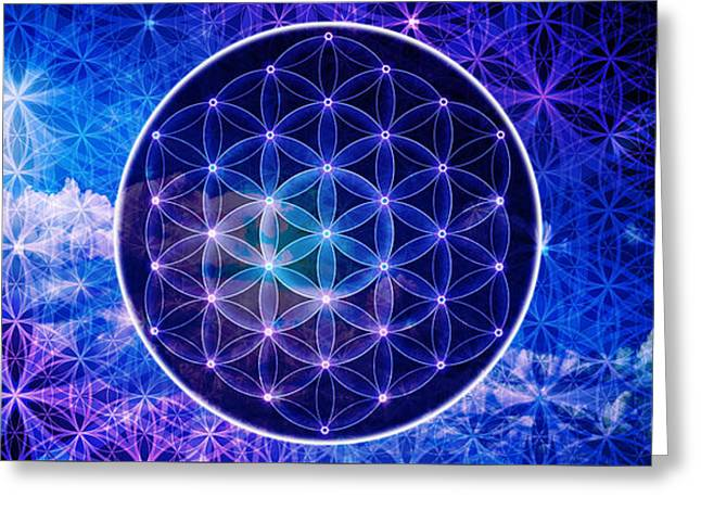 The Flower Of Life Greeting Card by AJ Fortuna