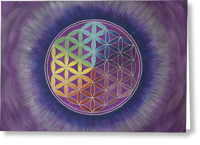 The Flower Of Life Greeting Card by Silvia Flores