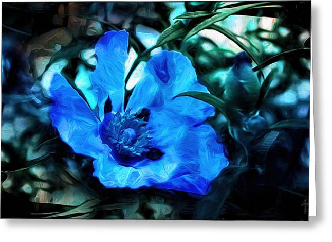 The Flower Of The Five Wishes - Blue  Greeting Card by Daniel Arrhakis