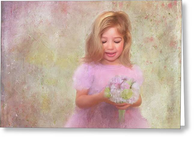 Greeting Card featuring the mixed media The Flower Princess by Colleen Taylor