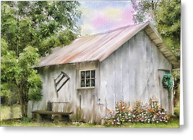 The Flower Shed Greeting Card by Mary Timman