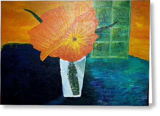 The Flowers In The Vase Greeting Card by Roy Penny