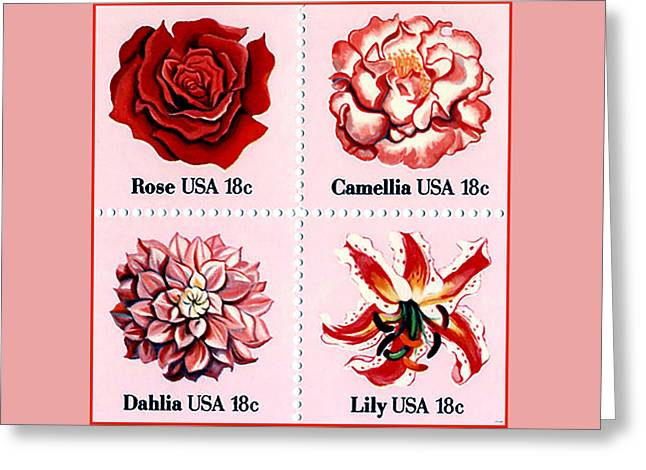 The Flowers Stamps Greeting Card