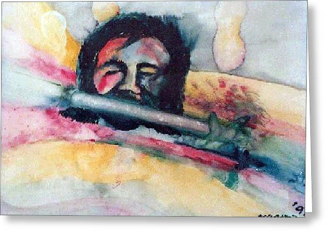The Flute Player Greeting Card by Rooma Mehra