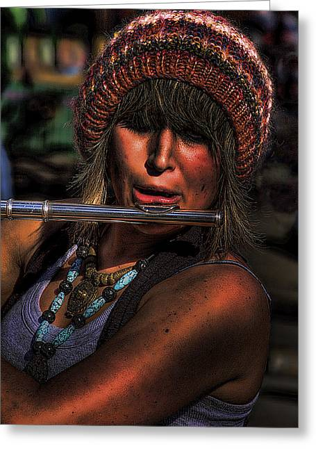 The Flutist Greeting Card by David Patterson