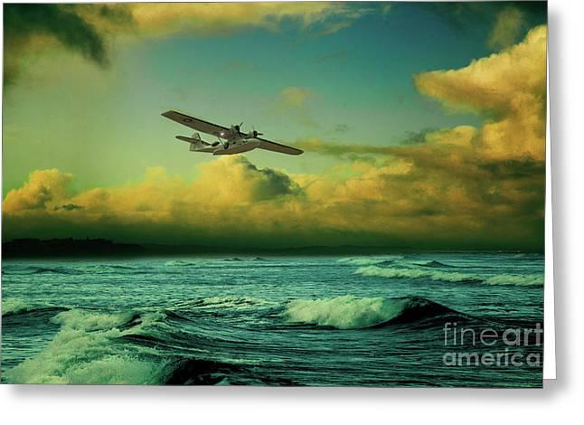 The Flying Boat Greeting Card by J Biggadike