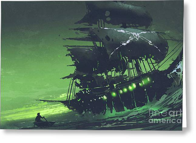 Greeting Card featuring the painting The Flying Dutchman by Tithi Luadthong