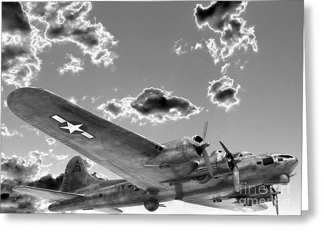 The Flying Fortress Greeting Card by David Bearden