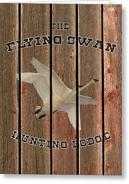 The Flying Swan Hunting Lodge Greeting Card by TL Mair