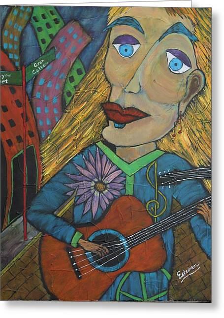 The Folk Singer Greeting Card by Stephen Harrelson
