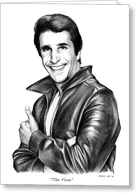 The Fonz Greeting Card by Greg Joens