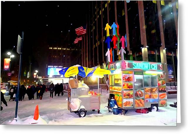 The Food Cart In Snow Greeting Card