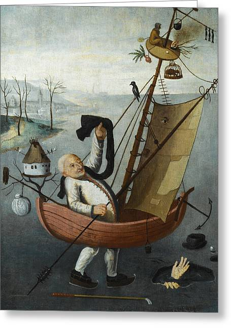 The Fool's Ship Greeting Card by Follower of Hieronymus Bosch