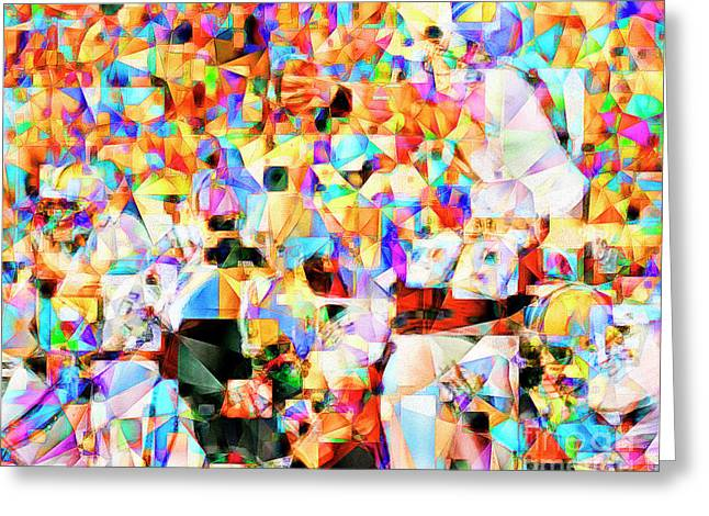 The Football Longest Yard In Abstract Cubism 20170328 Greeting Card