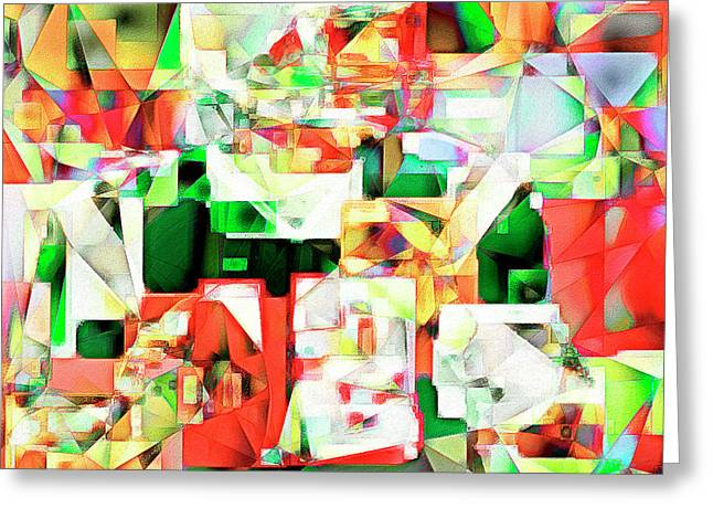 The Football Quarterback In Abstract Cubism 20170328 Square Greeting Card