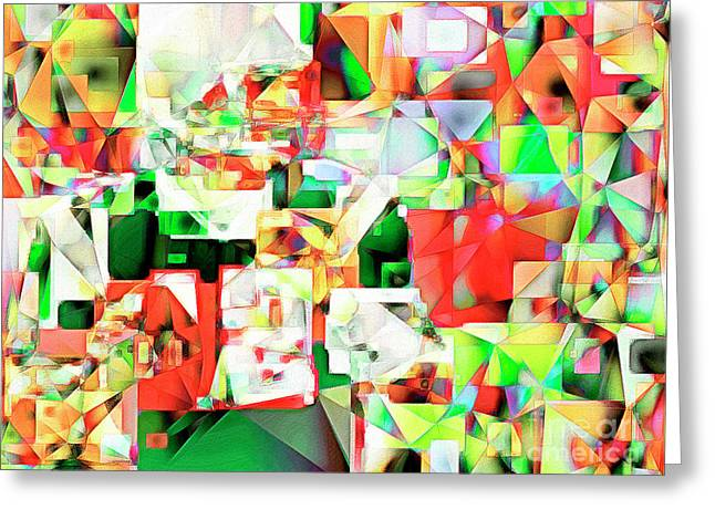 The Football Quarterback In Abstract Cubism 20170328 Greeting Card by Wingsdomain Art and Photography