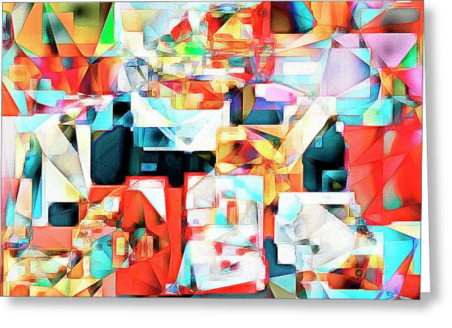 The Football Quarterback In Abstract Cubism 20170328c2 Square Greeting Card by Wingsdomain Art and Photography