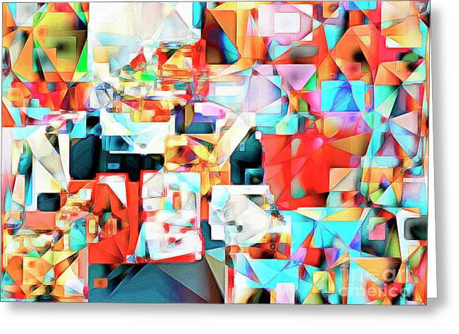 The Football Quarterback In Abstract Cubism 20170328c2 Greeting Card by Wingsdomain Art and Photography
