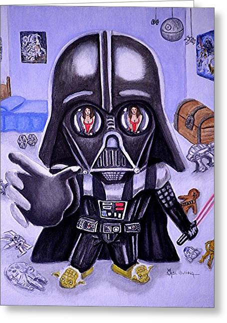 Little Boy Greeting Cards - The Force is Strong with this One Greeting Card by Al  Molina