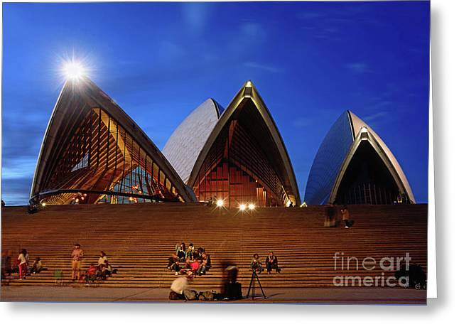 Greeting Card featuring the photograph The Forecourt Sydney Opera House By Kaye Menner by Kaye Menner