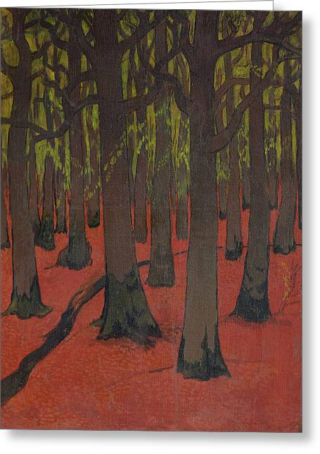The Forest With Red Earth Greeting Card by Georges Lacombe