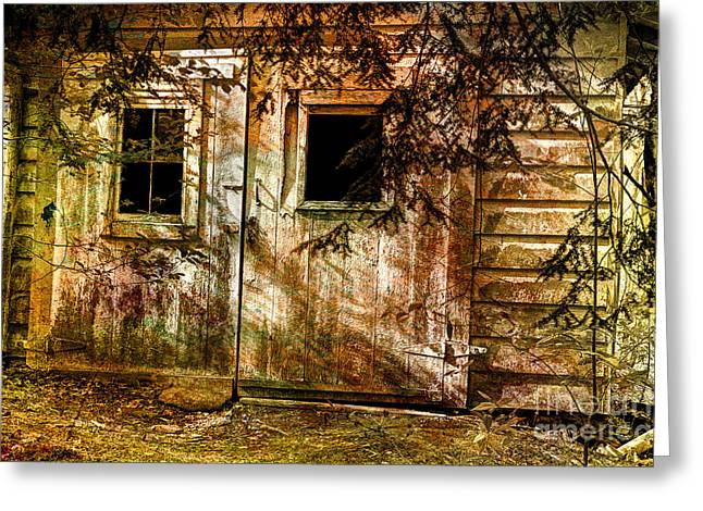 The Forgotten Garage Out Back Greeting Card by Michael Eingle