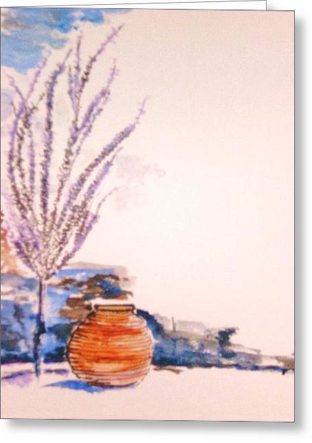 Greeting Card featuring the painting The Forgotten Urn by Helena Bebirian