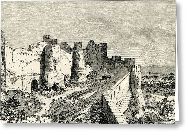 The Fortifications Of Carcassonne Greeting Card by Vintage Design Pics