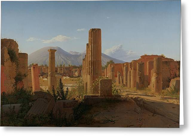 The Forum At Pompeii With Vesuvius In The Background Greeting Card by Christen Schjellerup