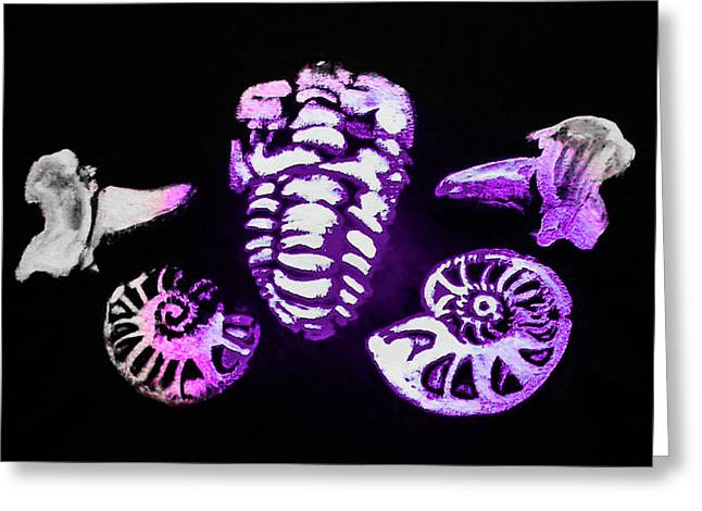 The Fossil Arrangement  In Purple- The Original Pinting Greeting Card by Barbara Searcy