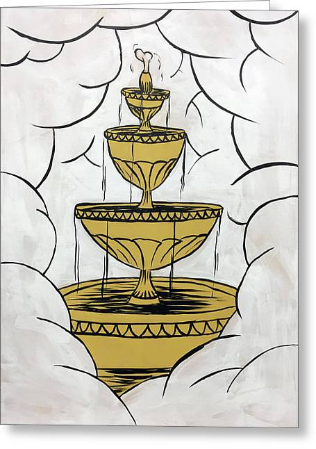 Greeting Card featuring the painting The Fountain Of Life by Nathan Rhoads