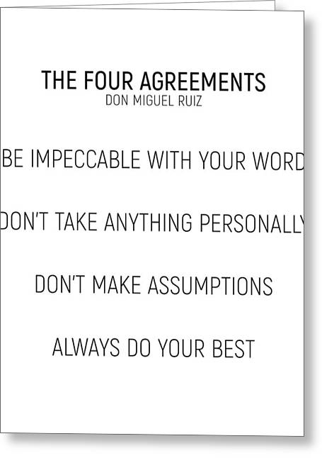 The Four Agreements #minismalism #shortversion Greeting Card