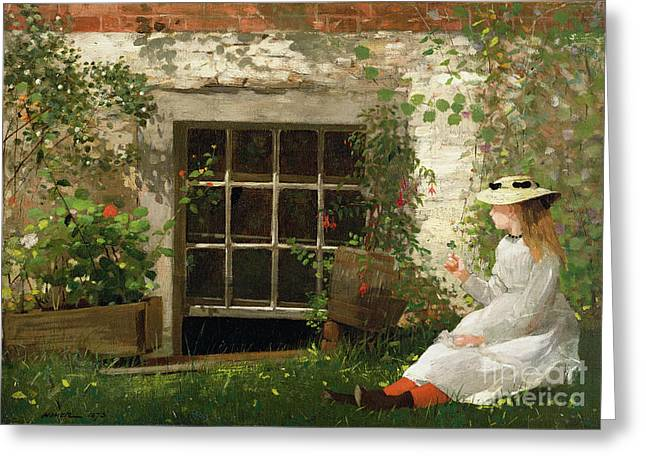 Girls Greeting Cards - The Four Leaf Clover Greeting Card by Winslow Homer