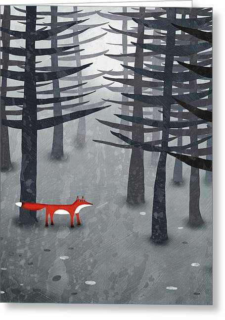 The Fox And The Forest Greeting Card by Nic Squirrell
