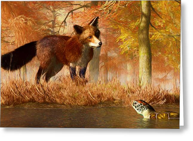 The Fox And The Turtle Greeting Card by Daniel Eskridge