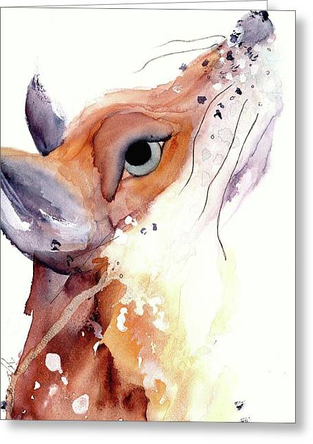 Greeting Card featuring the painting The Fox by Dawn Derman
