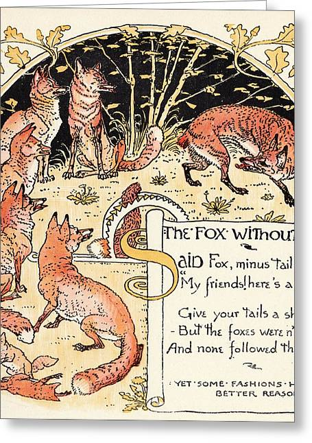 The Fox Without A Tale From The Book Greeting Card by Vintage Design Pics