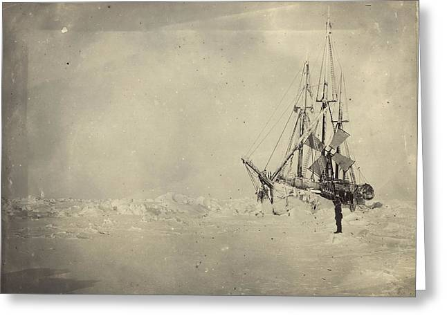 Caucasian Appearance Greeting Cards - The Frams Hull Was Built To Stand Greeting Card by Fridtjof Nansen