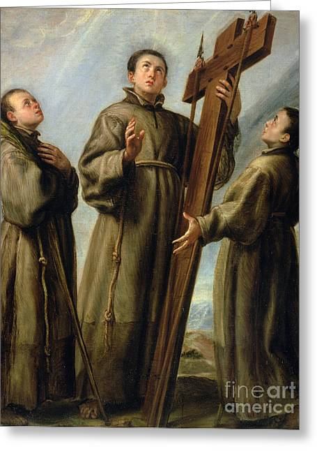 The Franciscan Martyrs In Japan Greeting Card by Don Juan Carreno de Miranda