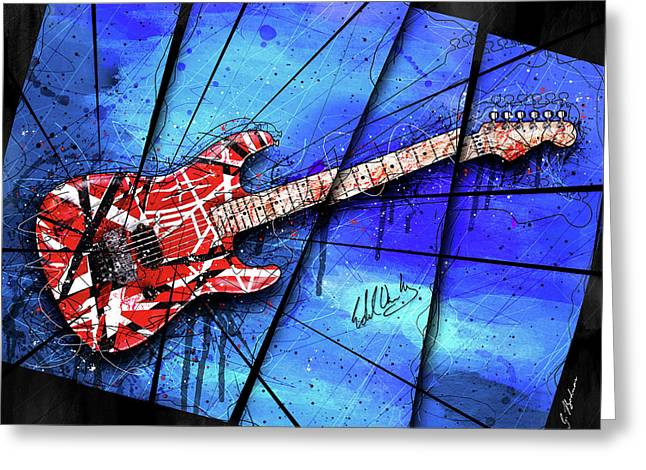 The Frankenstrat On Blue I Greeting Card by Gary Bodnar