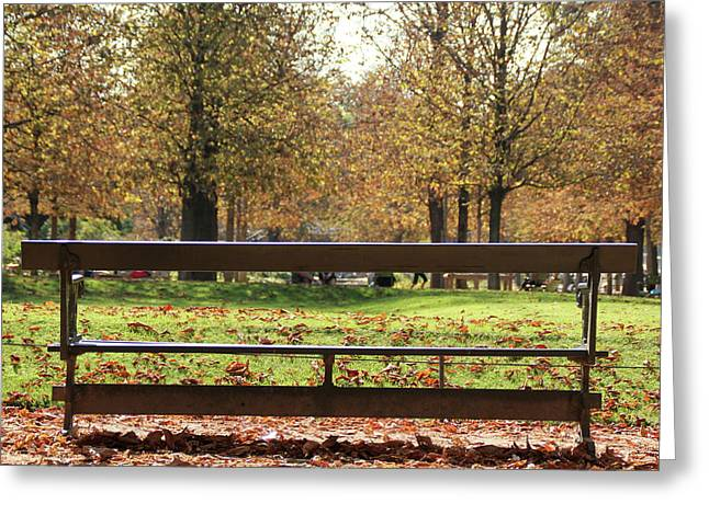 Greeting Card featuring the photograph The French Bench And The Autumn by Yoel Koskas
